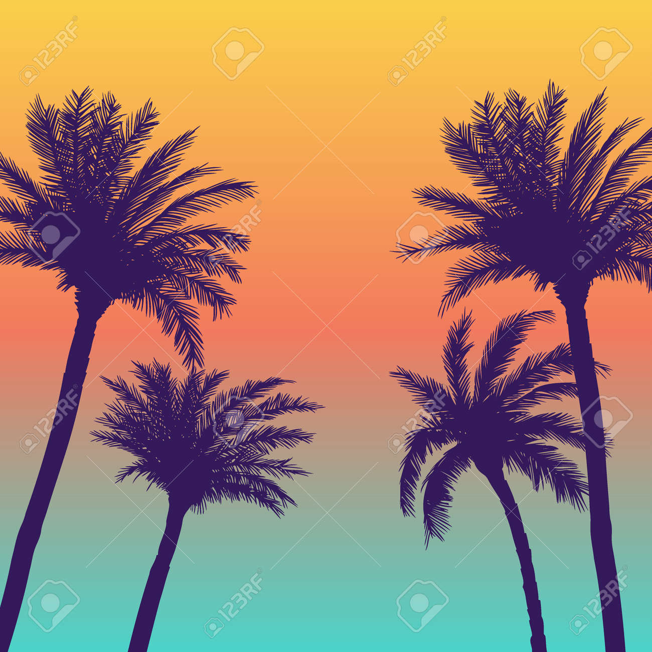 Silhouette palm coconut trees background - 168035139