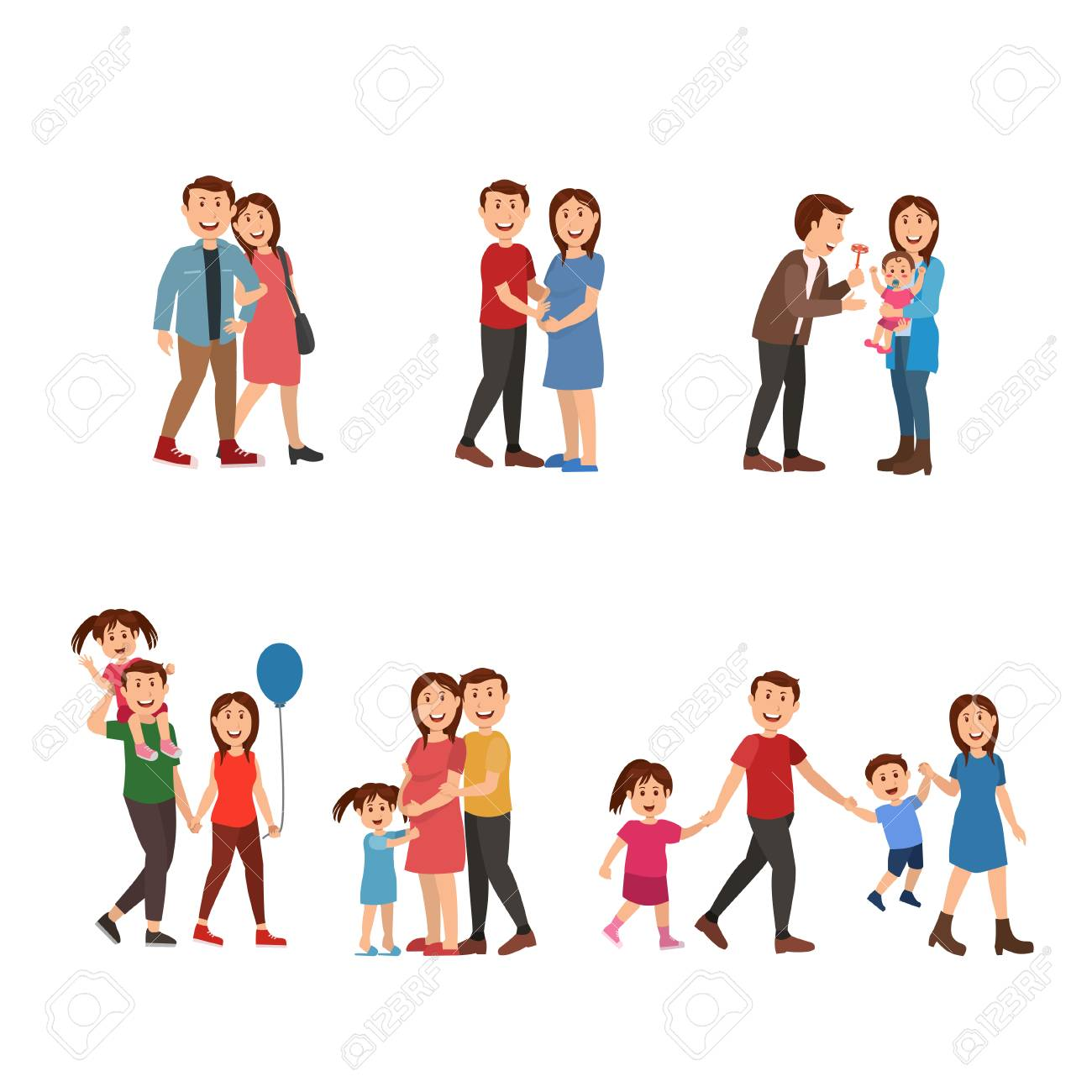 Happy family start from couple, married, have children  father,