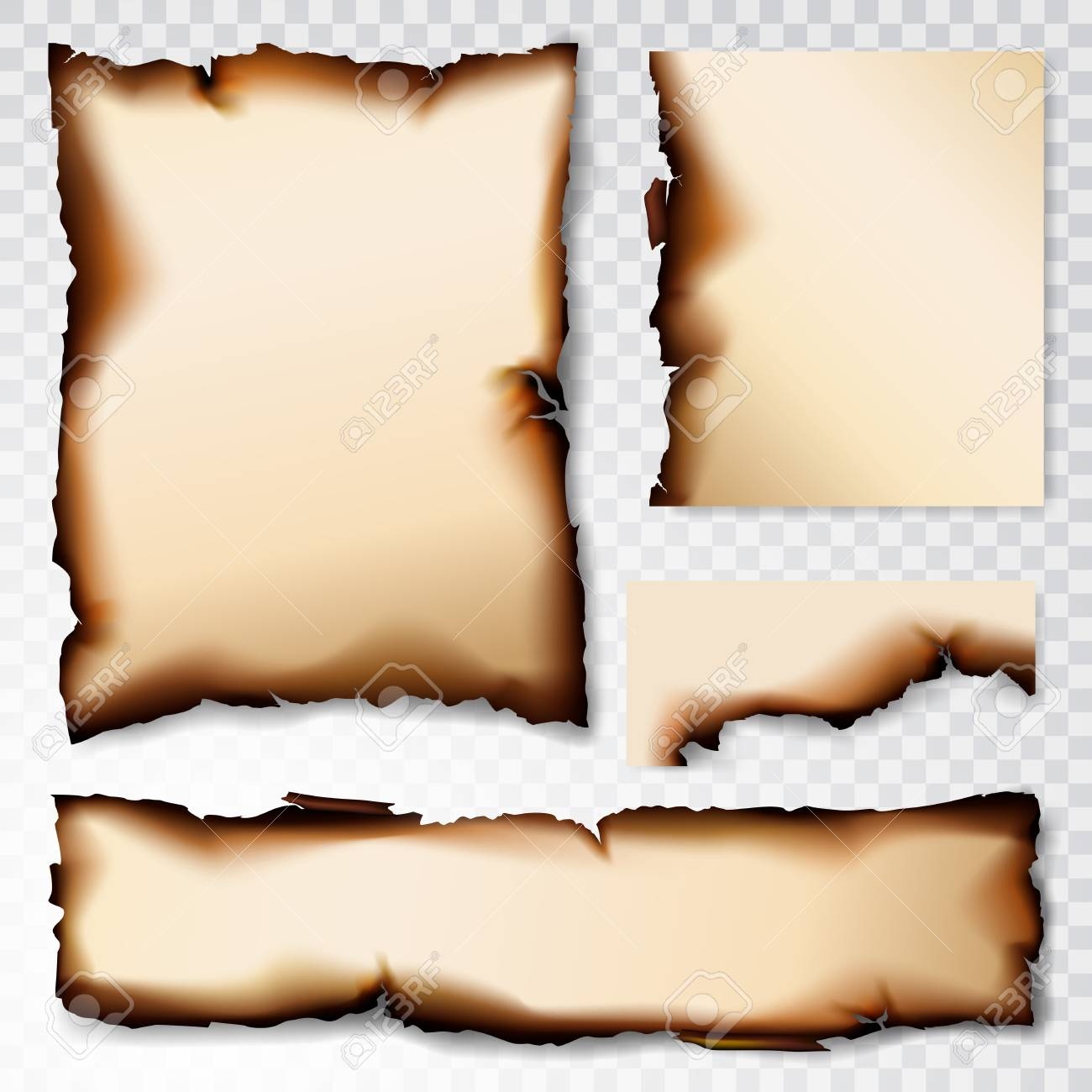 Burnt Paper scorched illustration isolated on transparent background - 106706151