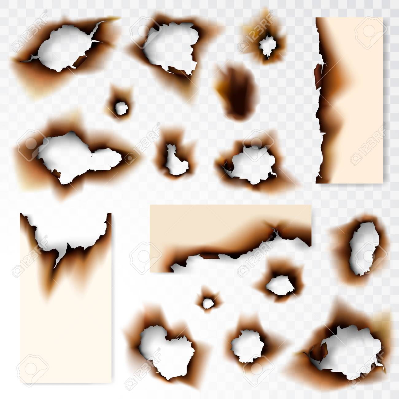 Collection of Burnt hole paper vector illustration on transparent background - 106706152