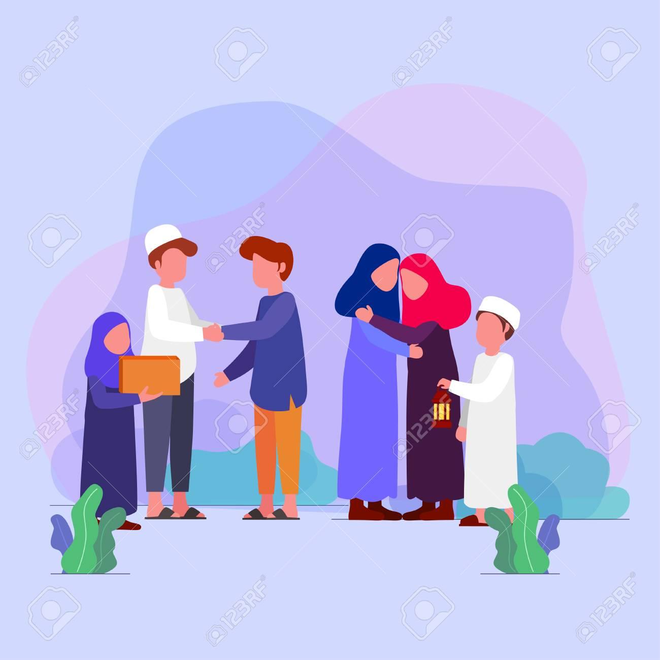 Eid Mubarrak, families visit each other tradition on eid vector illustration greeting card - 115948322