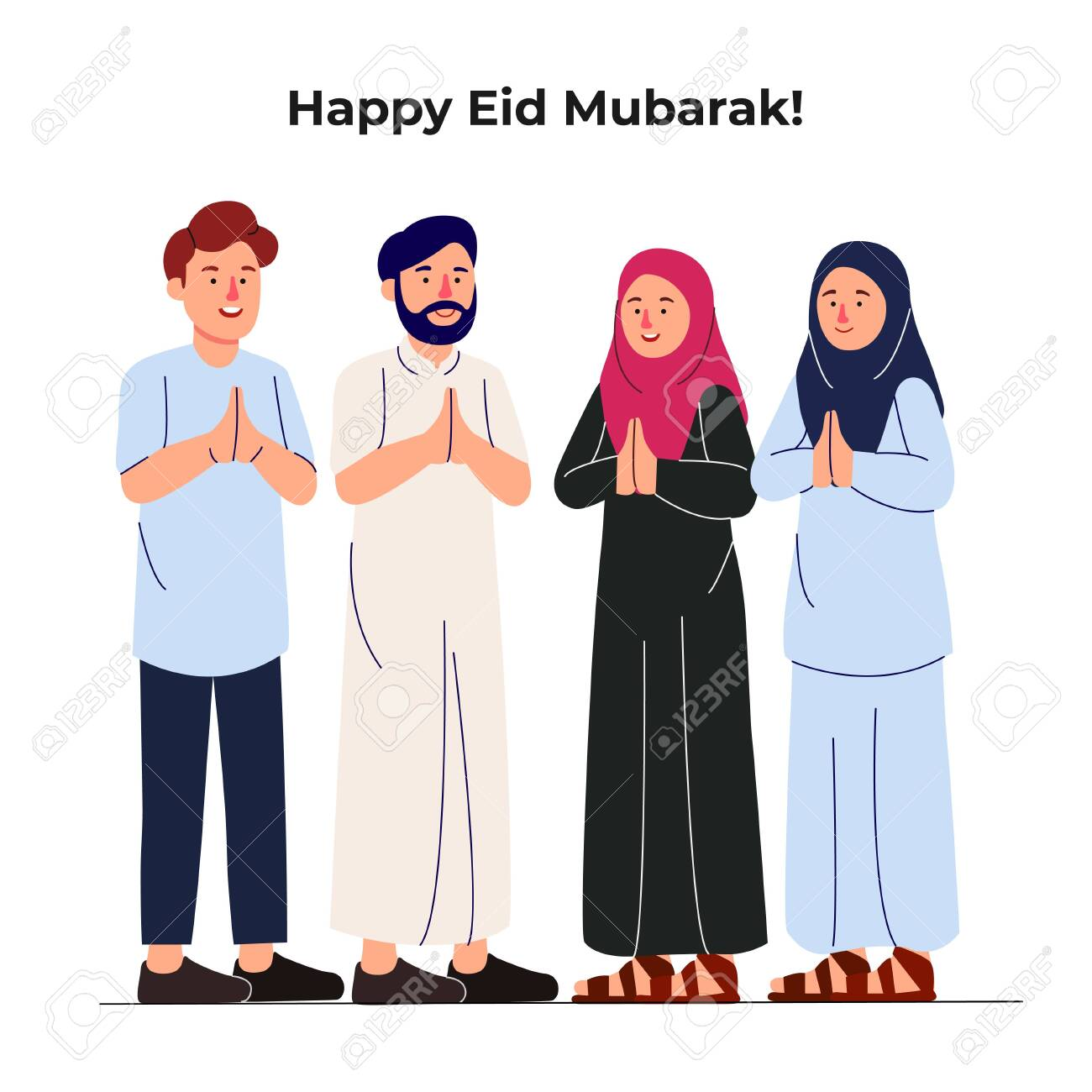 Set Group Of Young Muslim Man And Woman Together Greeting Eid Royalty Free Cliparts Vectors And Stock Illustration Image 140400924