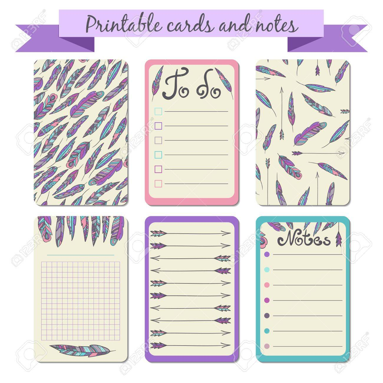 printable journalist cards notes in bohemian style to do list