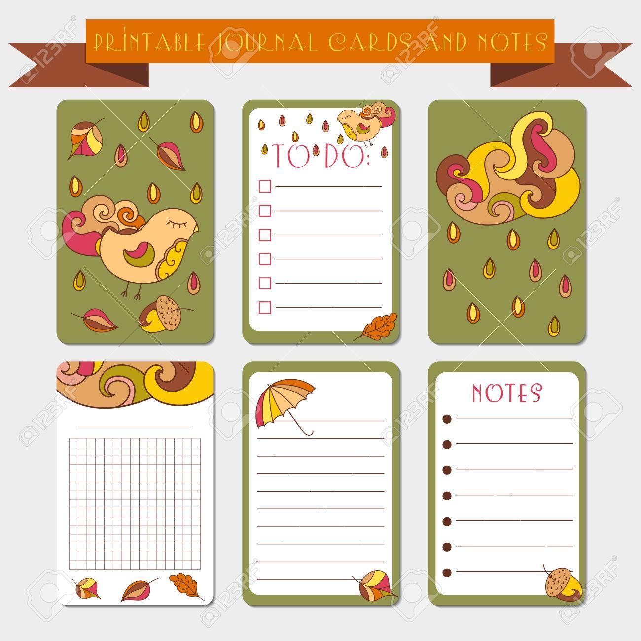 Tarjetas De Diario Para Imprimir Etiquetas Con Ilustraciones De