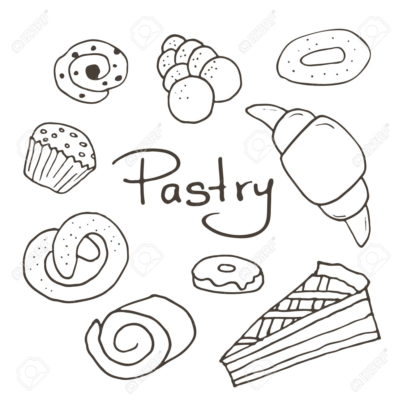 hand drawn sweet pastry set bakery elements sketch excellent