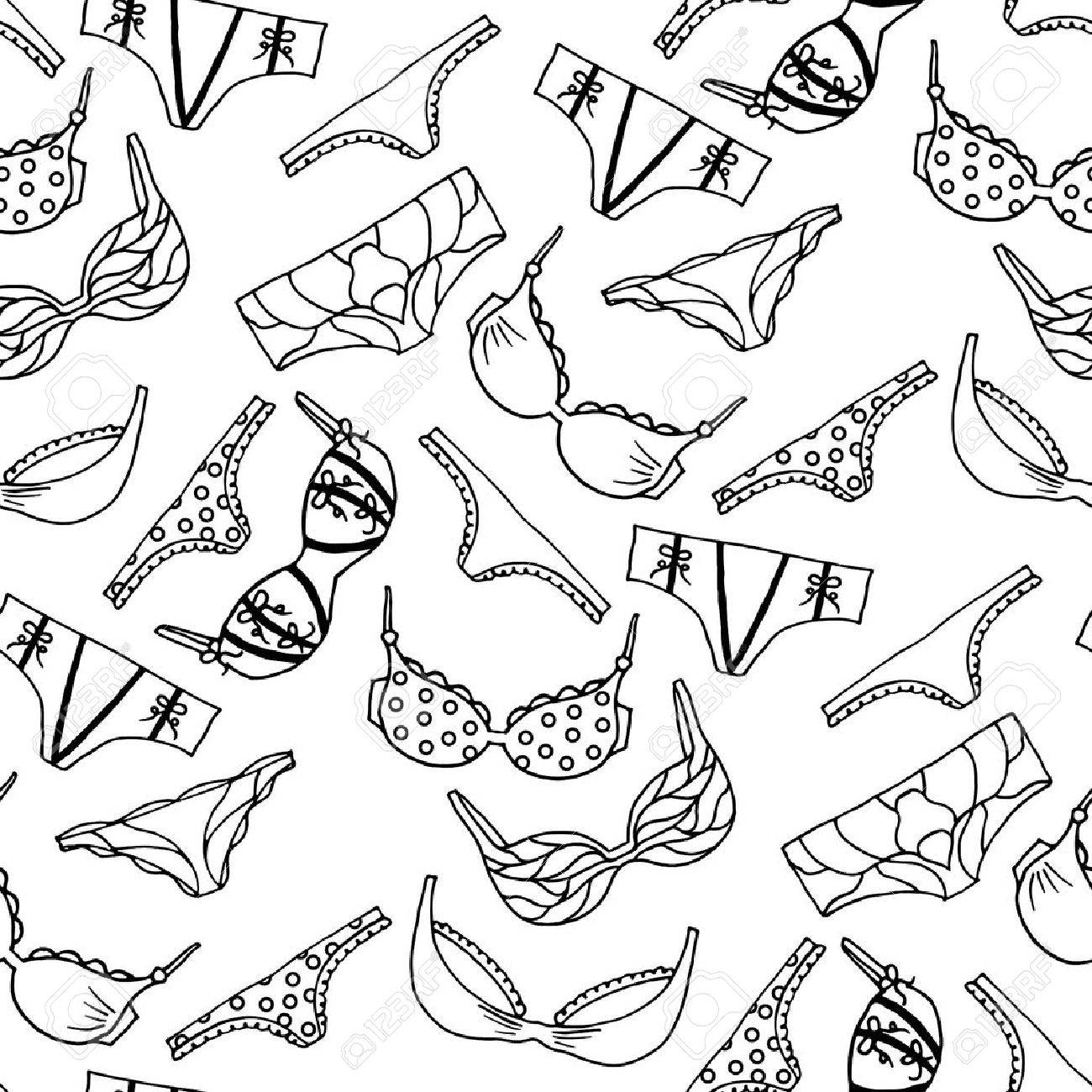Vector Underwear Wallpaper Design Outline Hand Drawn Illustration Bras And