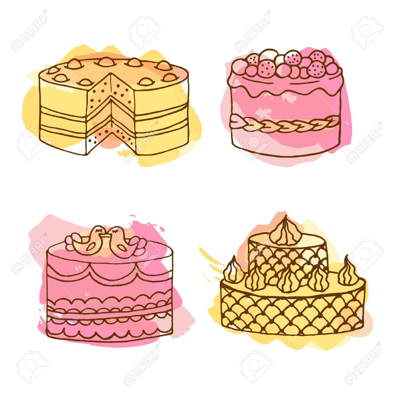 ベクトル ケーキのイラストです。4 本セットは、カラフルな水彩