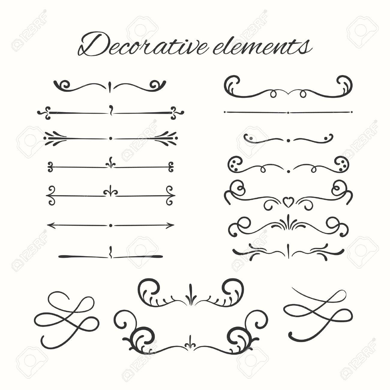 Hand drawn dividers set. Ornamental decorative elements. Vector ornate elements design. - 51559254