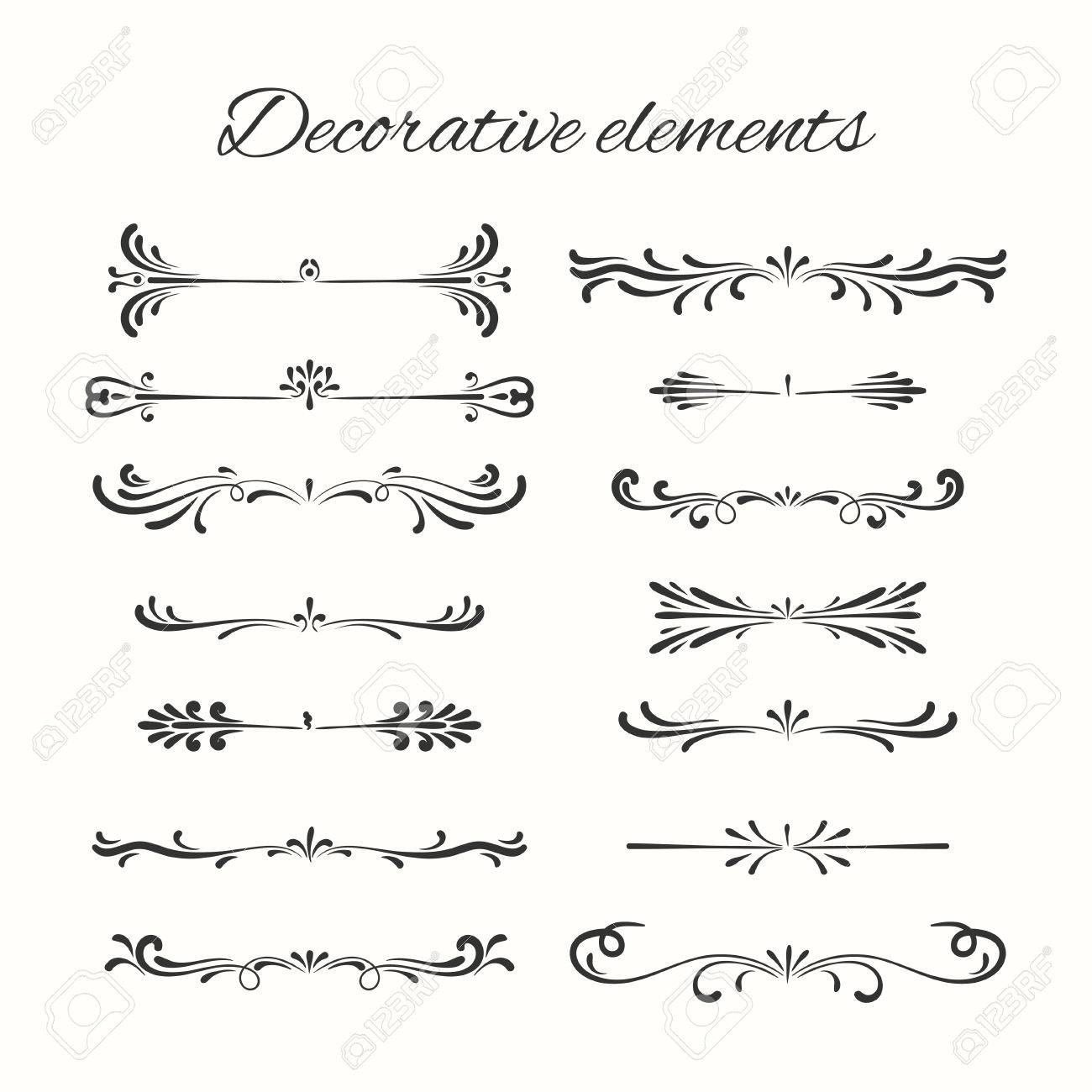 Hand drawn dividers set. Ornamental decorative elements. Vector ornate elements design. - 51559265