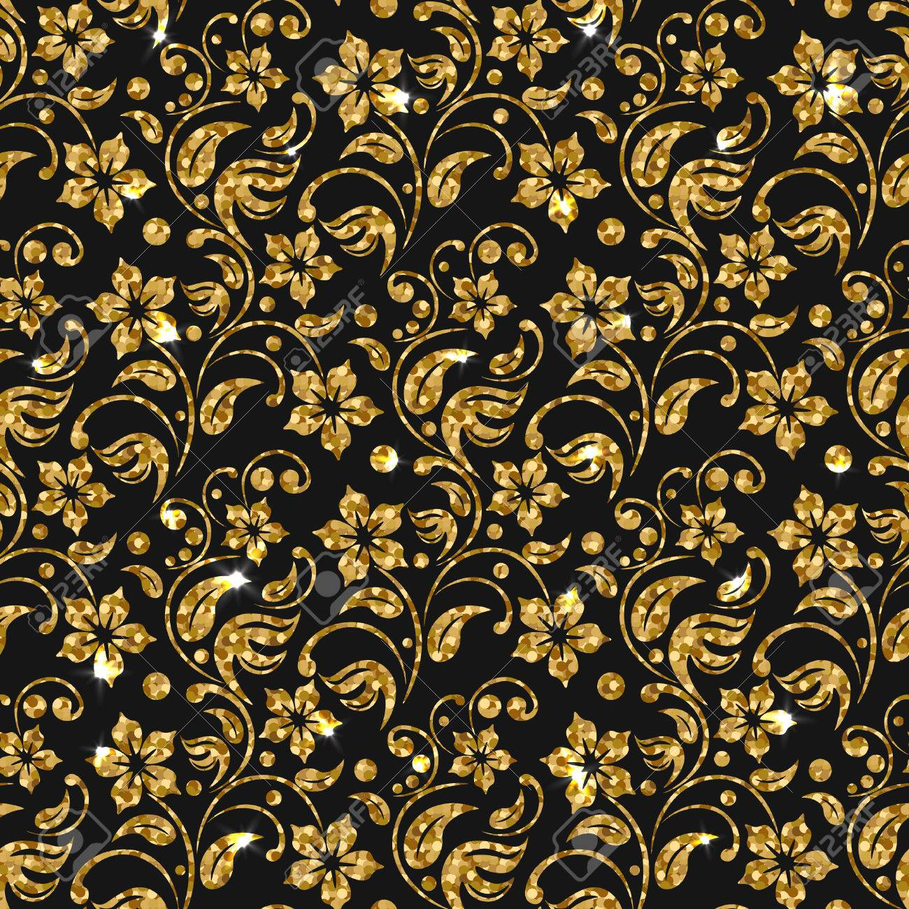 Vector Seamless Damask Pattern With Flowers Golden Glitter