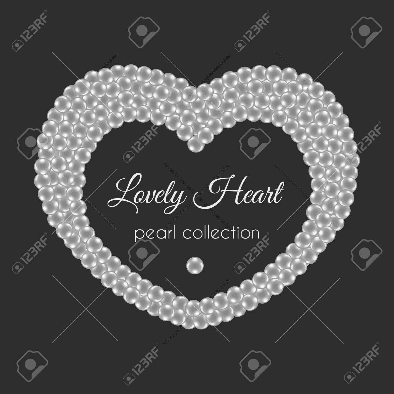 Perle Herz. Rahmen In Herzform. Weiße Perlen-Design. Dekorative ...