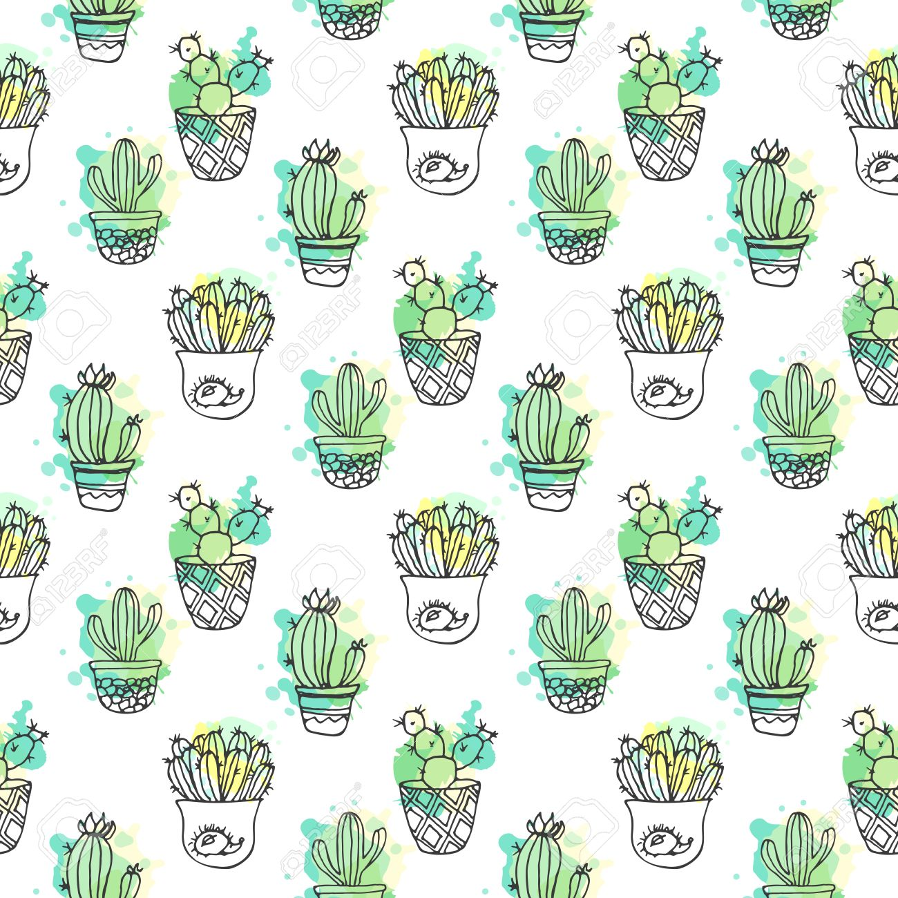 Seamless Vector Pattern With Cactus Colorful Background With Royalty Free Cliparts Vectors And Stock Illustration Image 59831520