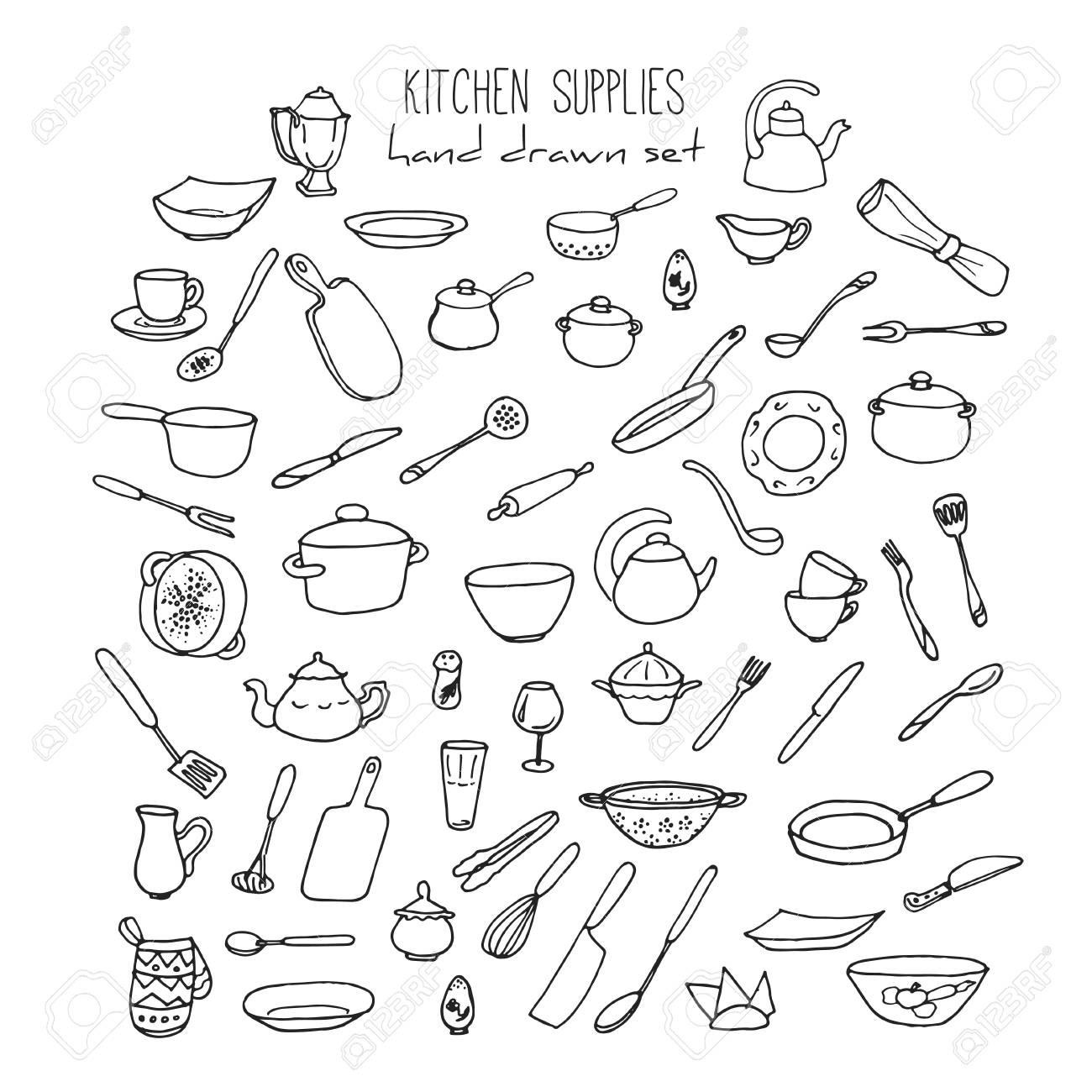 Hand Drawn Kitchen Utensils Set Doodle Kitchen Tools And Items