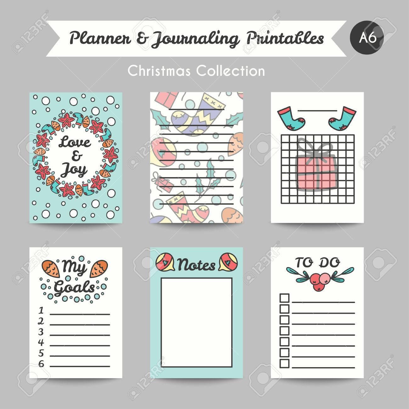 picture regarding Printable Journaling Cards named Xmas Printable Journaling Playing cards. Line Structure Bullet Jornal..
