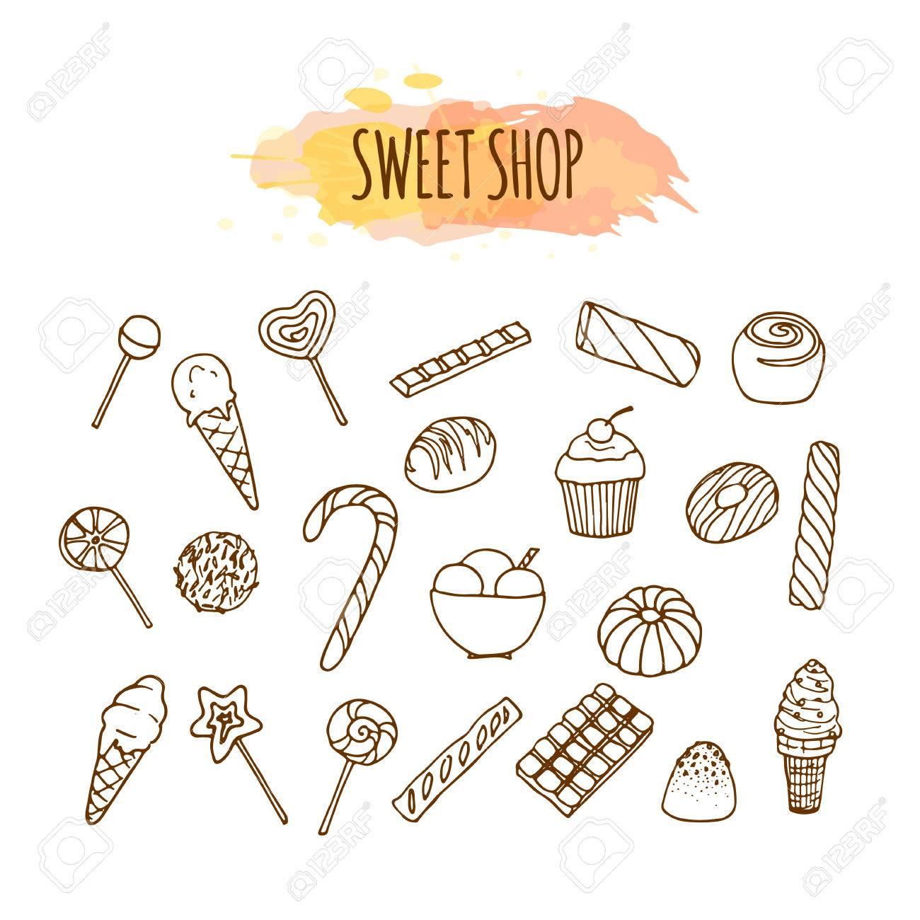 キャンディ ショップの要素お菓子やキャンディーをスケッチしますお