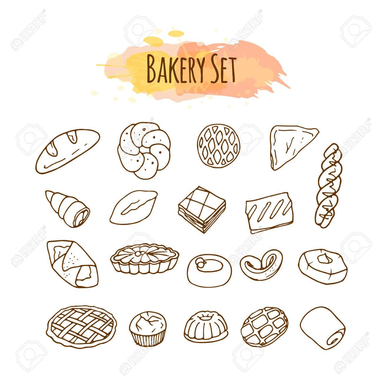 パン屋さんの要素お菓子のイラスト手描きベクトルを設定します