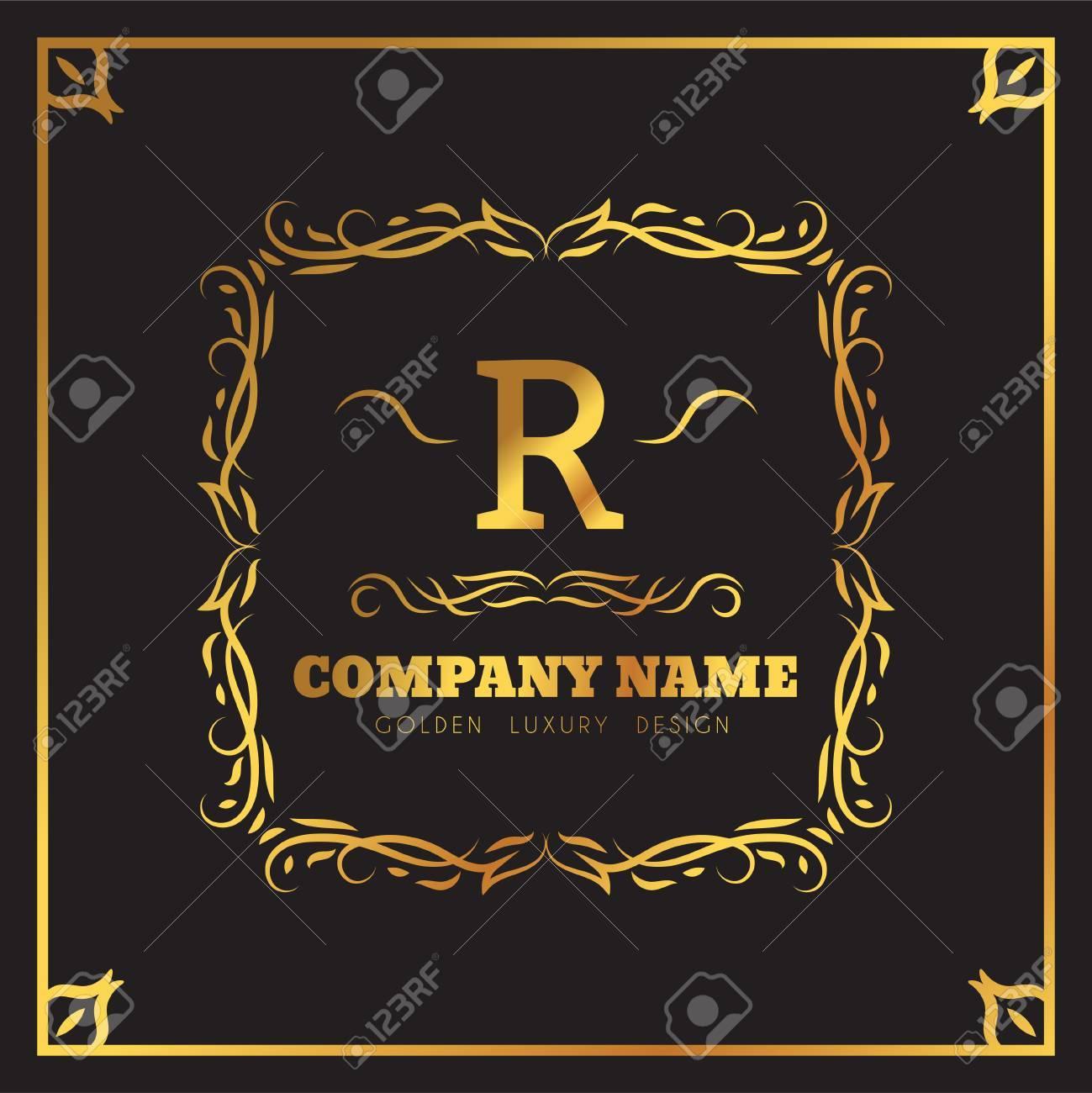Goldene Logo-Vorlage Elegante Schnörkel Kalligraphisch. Monogramm R ...