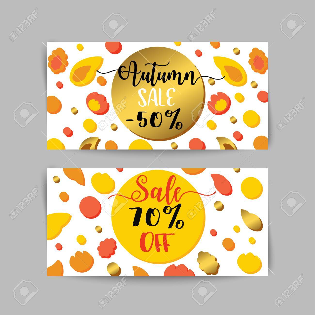 Autumn Sale Banners And Ads Web Template Set. Golen Fall Flyer ...