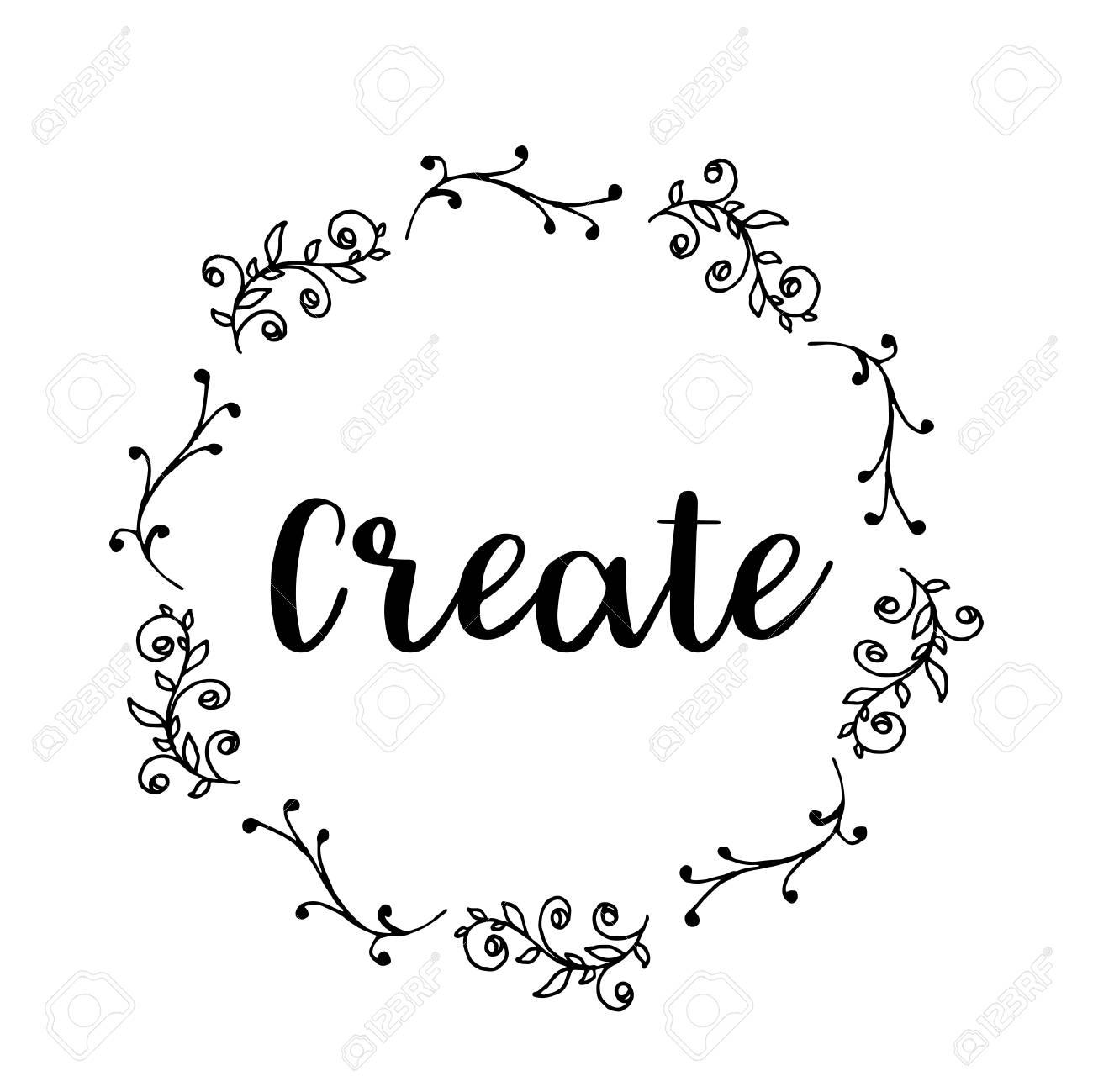Create Text Flower Wreath Hand Drawn Laurel Greeting Card Design