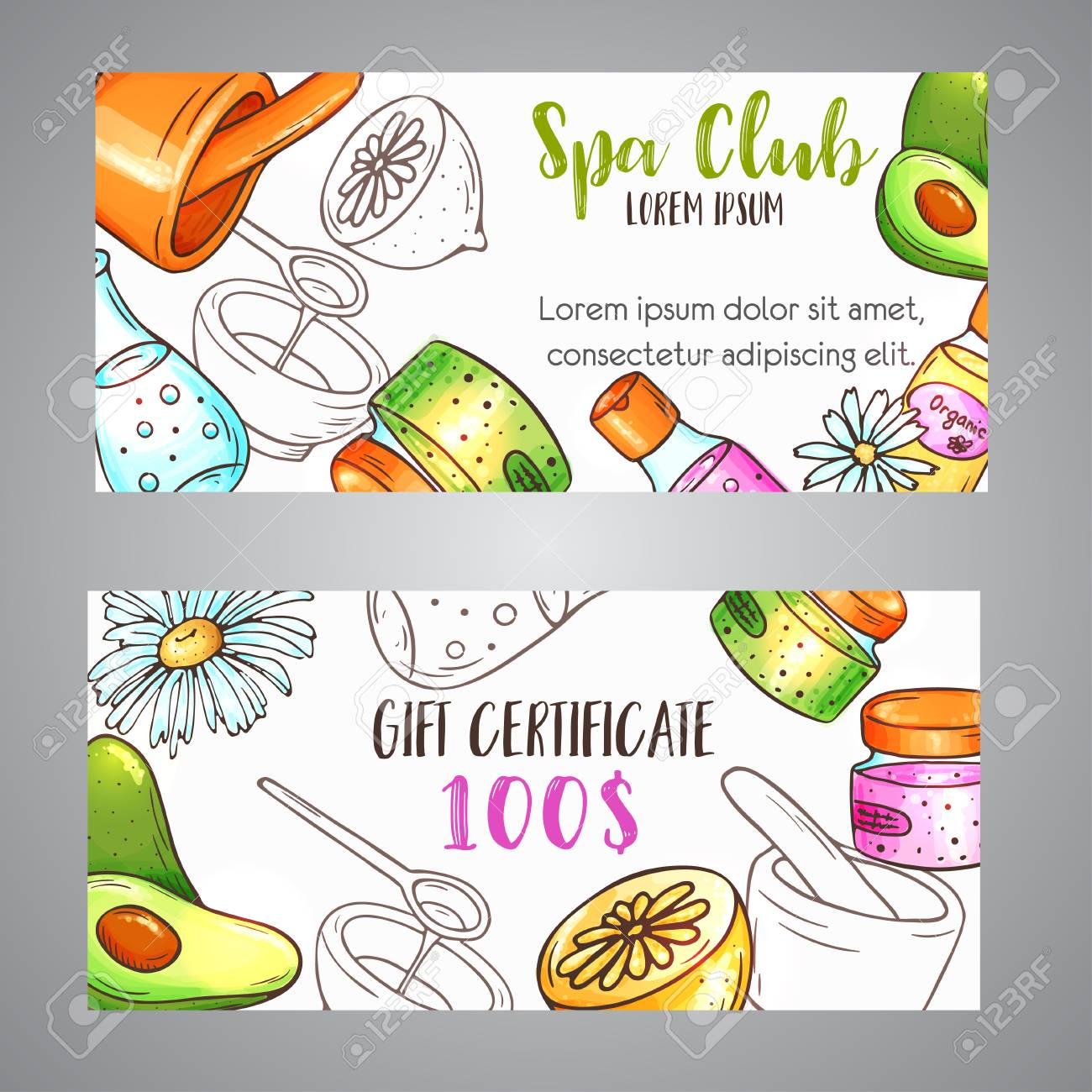 Spa Gift Certificate Hand Drawn Cosmetics And Aromatherapy Elements
