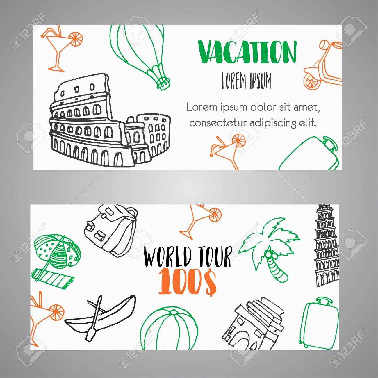 Hand Drawn Travel Gift Certificate Banners Tourism And Summer