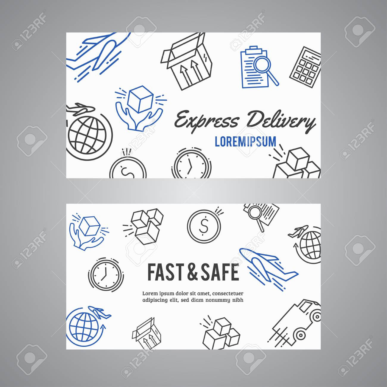 Express Delivery Line Icon Business Card. Courier And Shipping ...