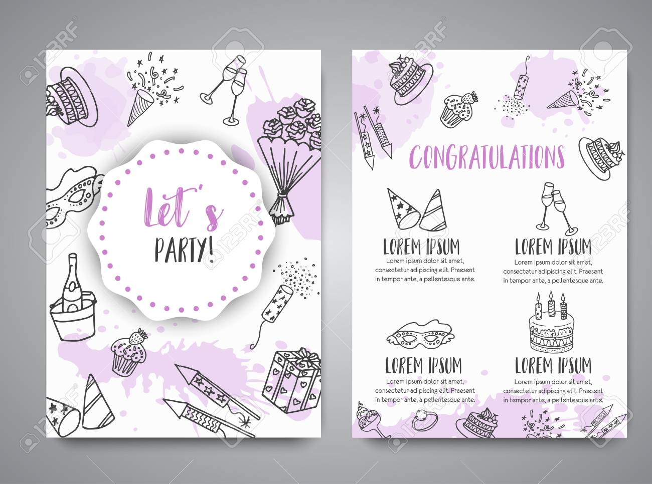 birthday party doodle posters vector template banners for cards