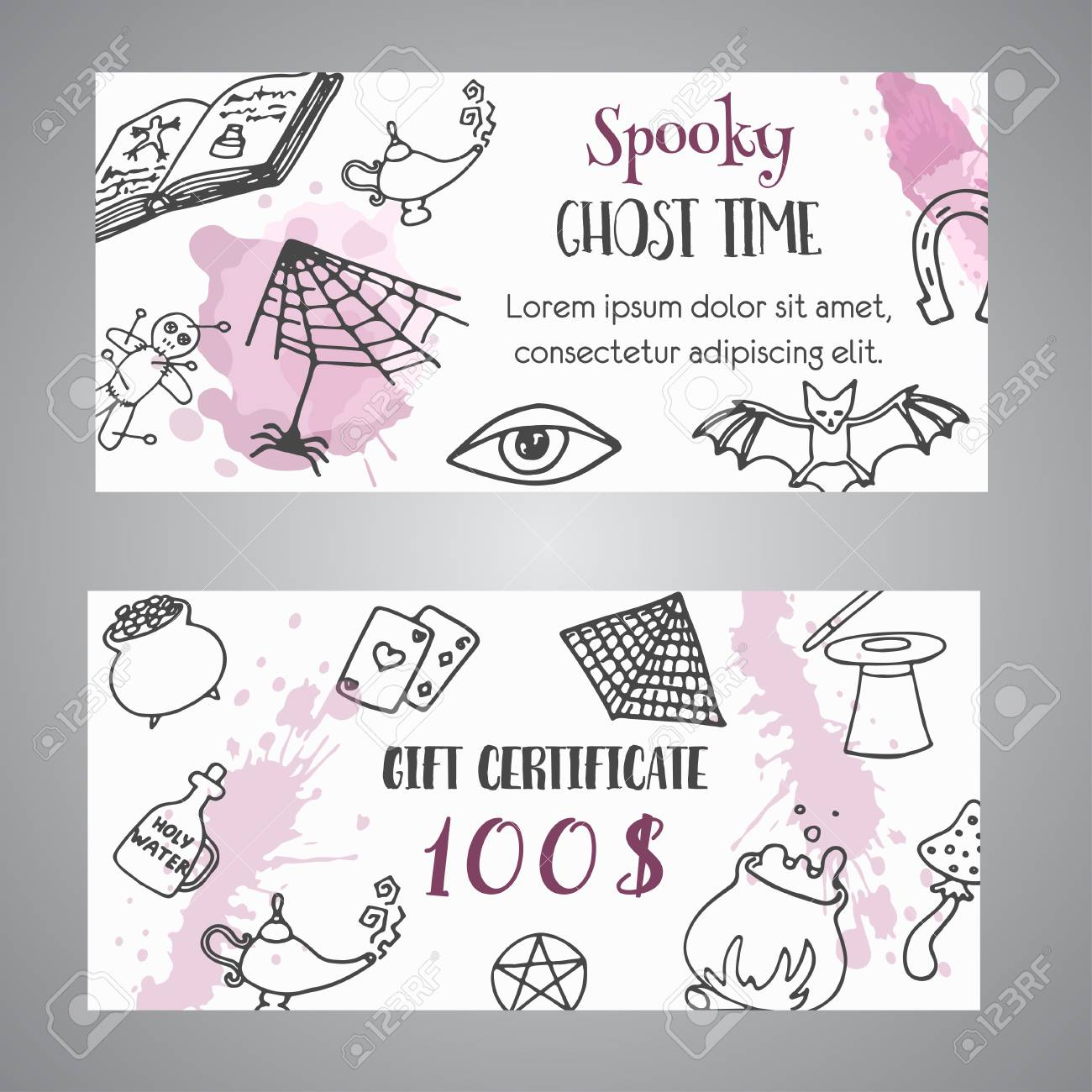 hand drawn halloween banner free voucher template. ghost time