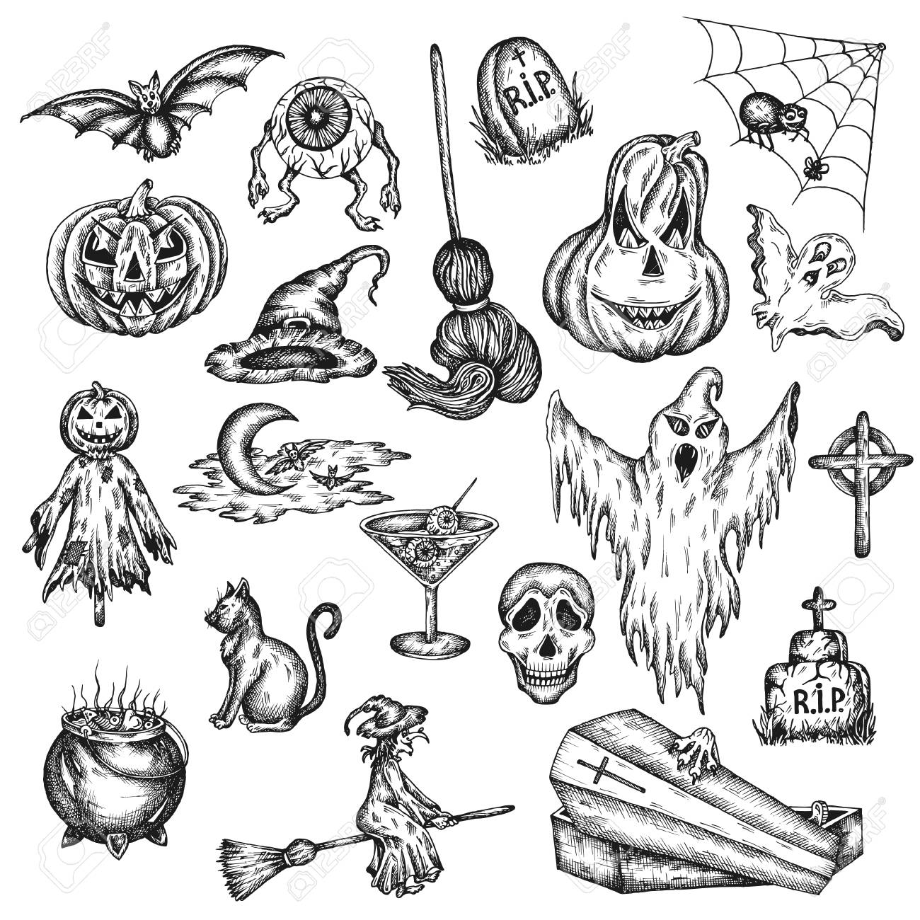 Halloween Holiday Cartoon Horror Set Design Of Scary Halloween Royalty Free Cliparts Vectors And Stock Illustration Image 110214213
