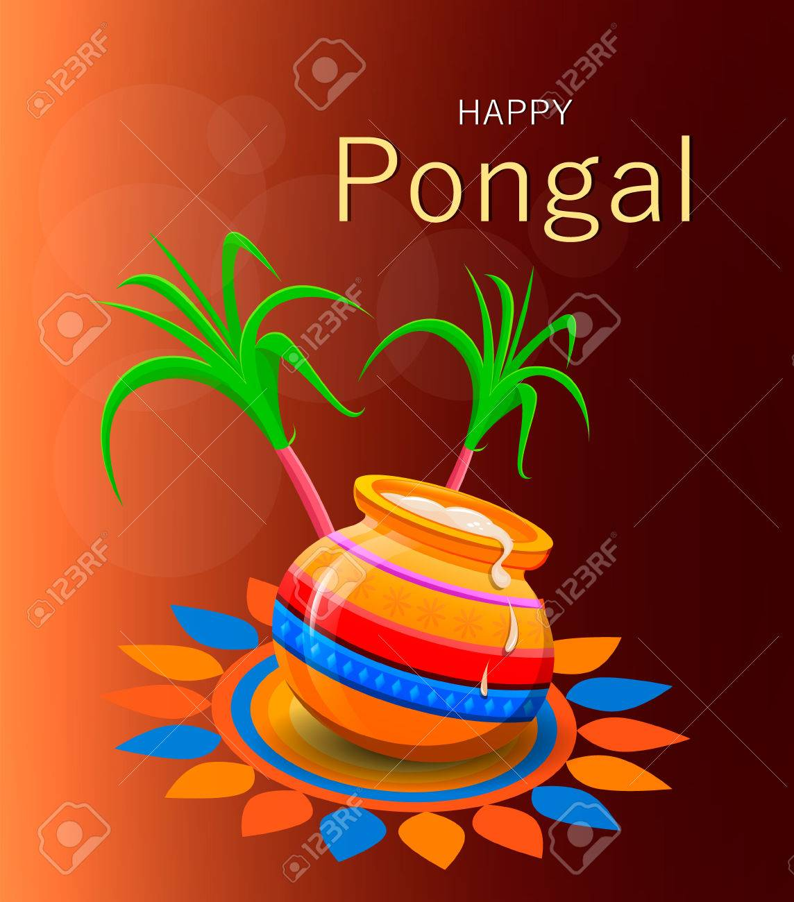 Happy pongal greeting card on brown background vector illustration happy pongal greeting card on brown background vector illustration stock vector 69258821 m4hsunfo