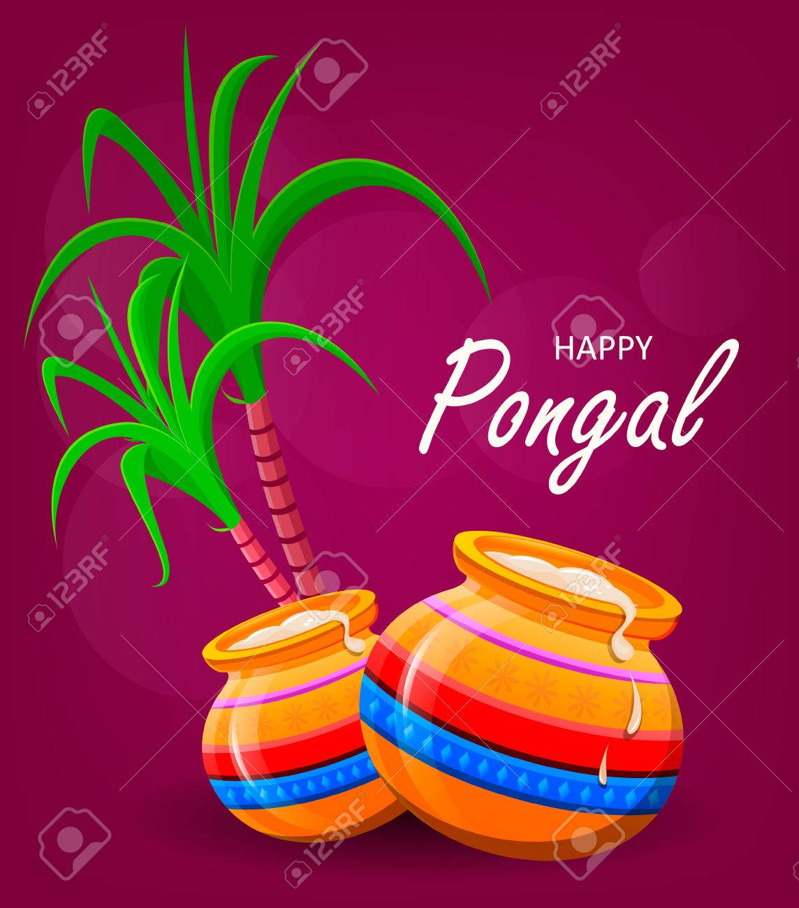 Happy pongal greeting card on violet background makar sankranti happy pongal greeting card on violet background makar sankranti poster vector illustration m4hsunfo
