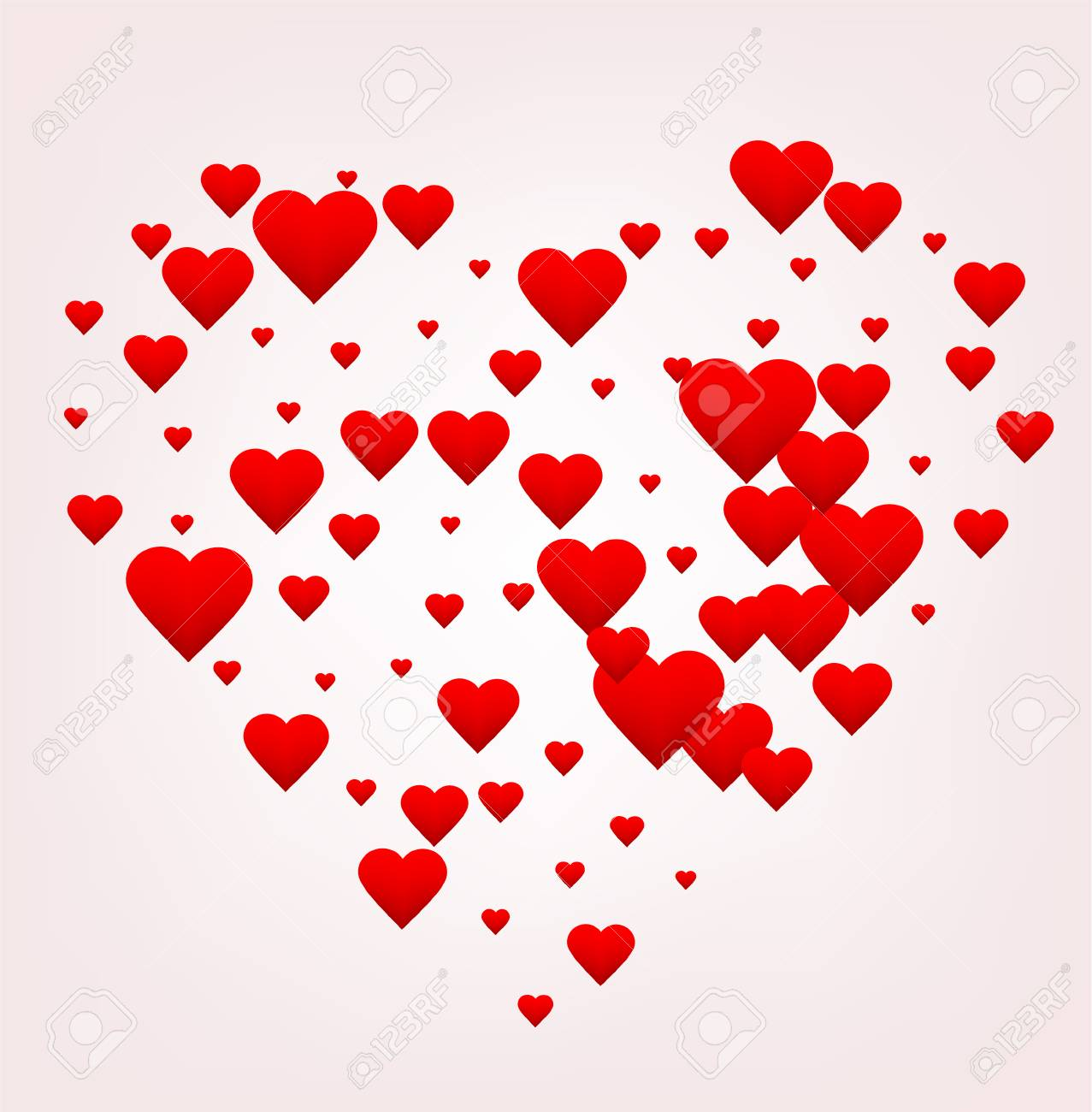 Happy Valentines Day Greeting Card Red Heart Shape Made Of Many