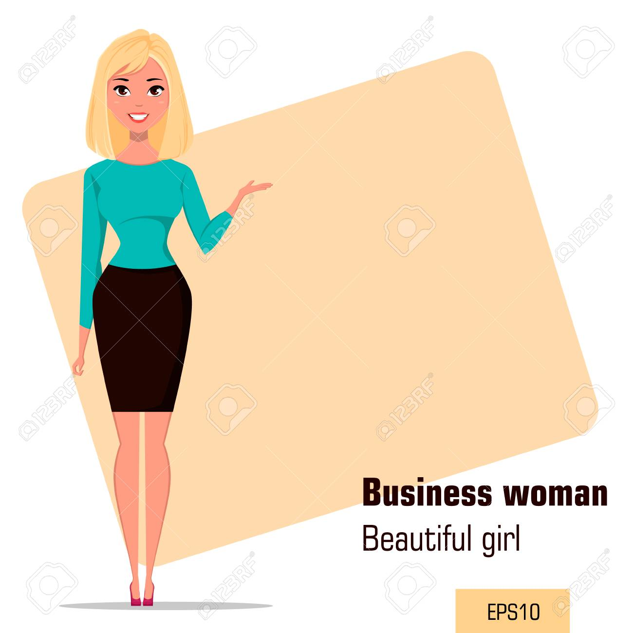 young cartoon businesswoman wearing business style clothing