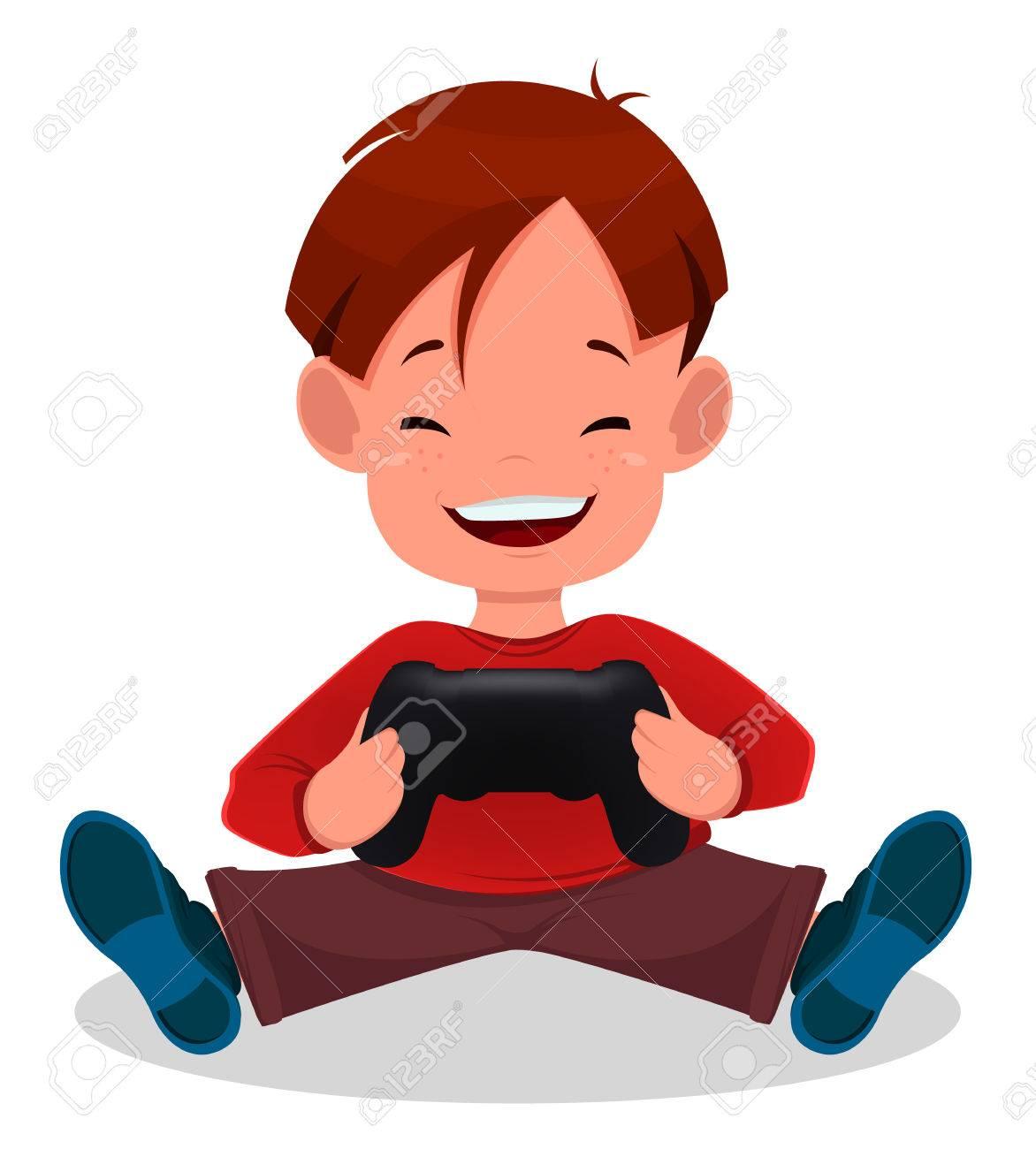 Alegre Niño Jugando Videojuegos Niño De Dibujos Animados Lindo