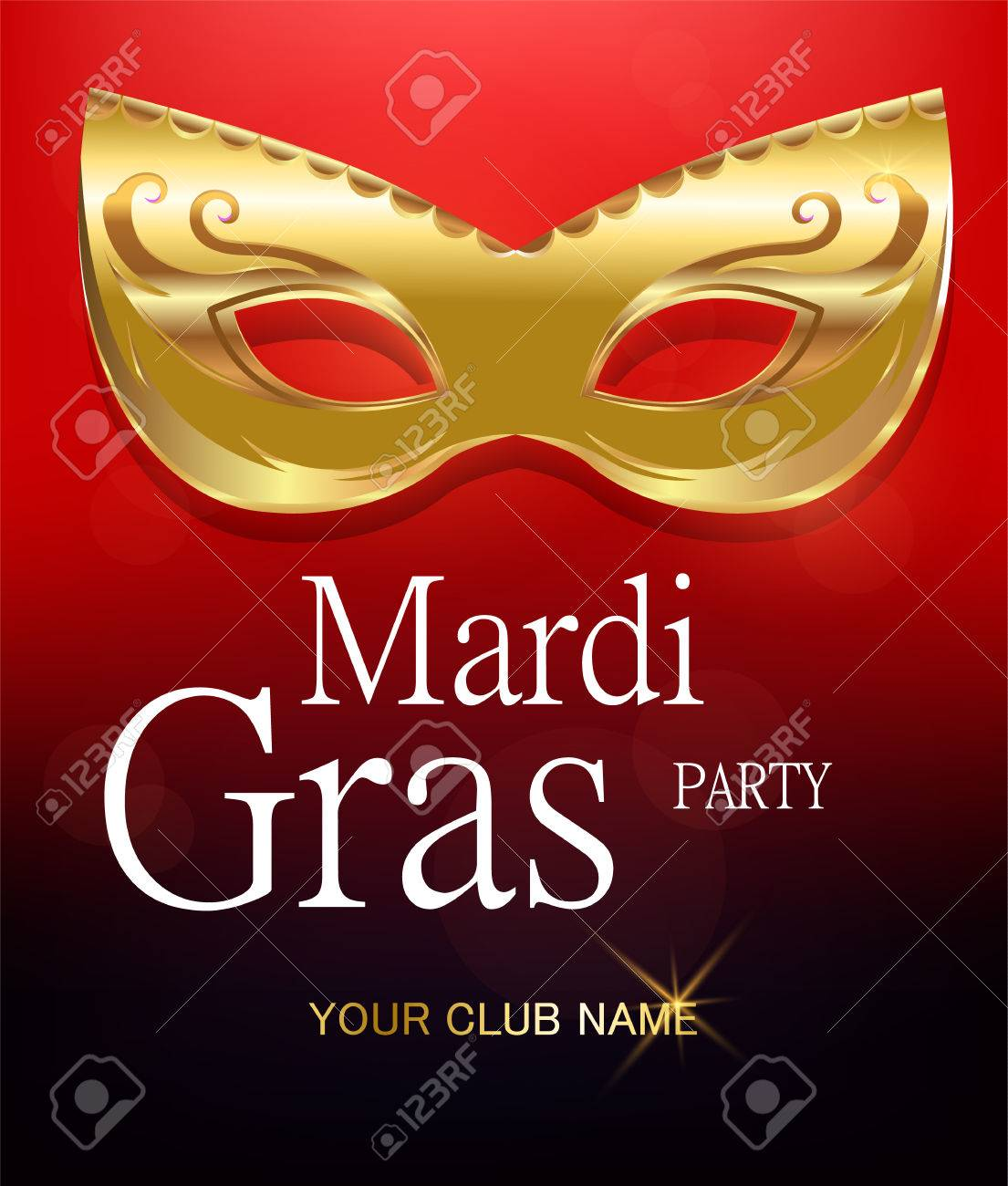 Mardi Gras Golden Carnival Mask With Ornaments For Poster, Greeting ...