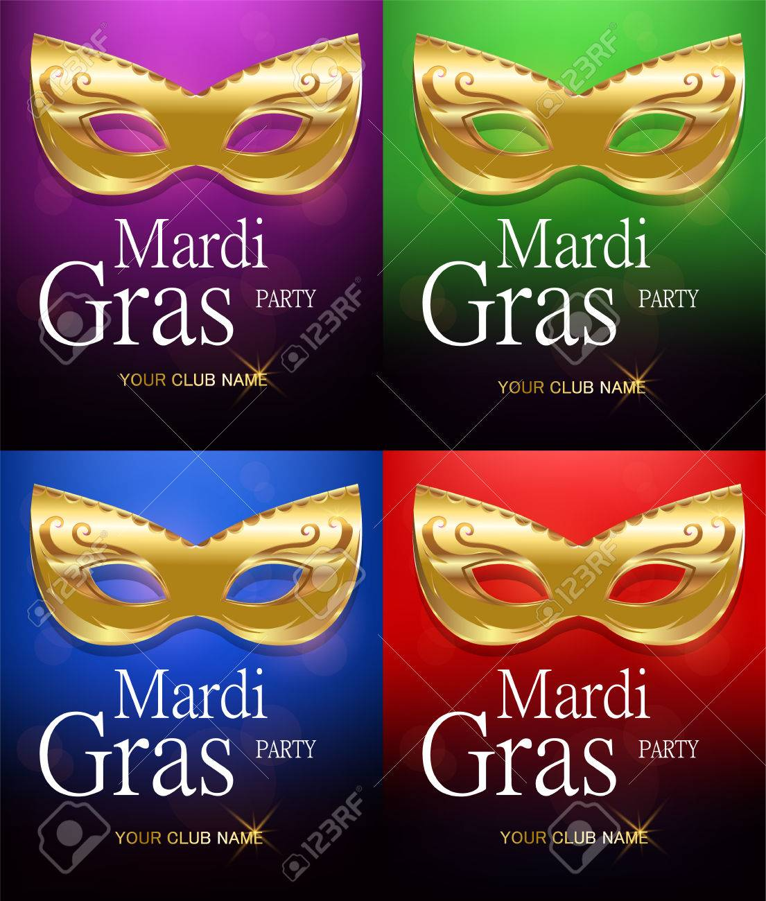 Mardi Gras Set Of Golden Carnival Masks With Ornaments For Poster ...