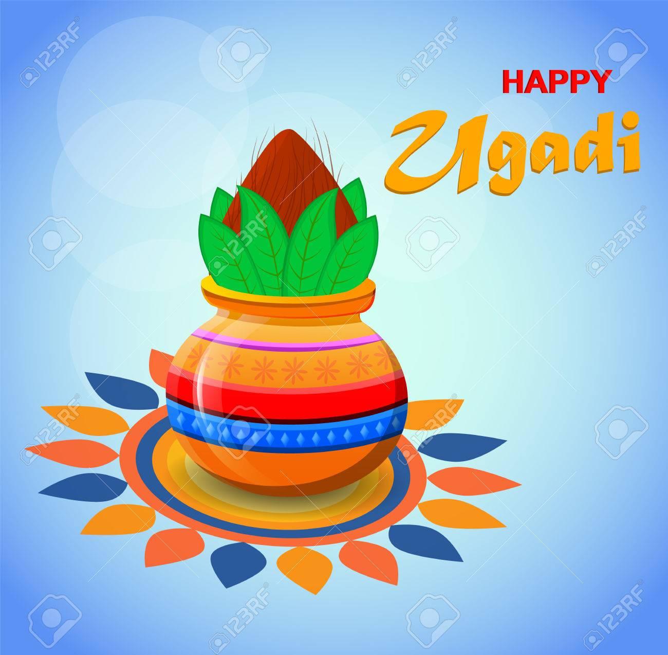 Feliz Año Nuevo Hindú Ugadi Y Gudi Padwa Tarjeta De Felicitación Para Vacaciones Pote Coloreado Con El Coco En Fondo Borroso Azul Claro Hermoso
