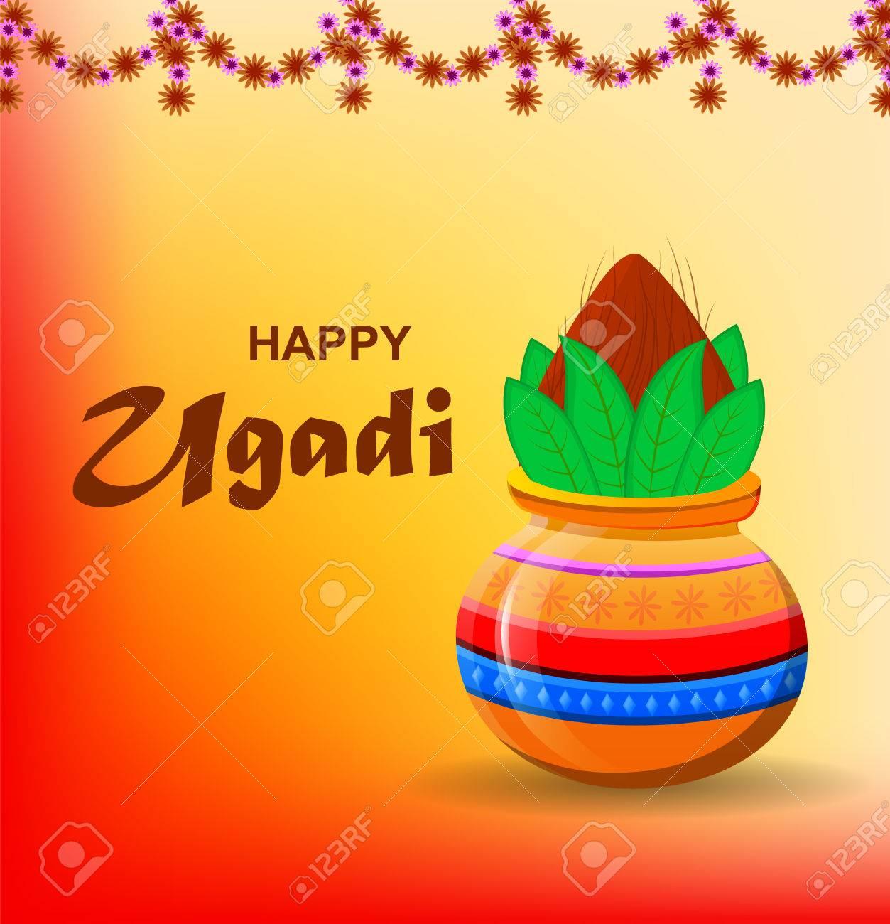 Feliz Año Nuevo Hindú Ugadi Y Gudi Padwa Tarjeta De Felicitación Para Vacaciones Pote Coloreado Con El Coco En Fondo Soleado Anaranjado Hermoso Con