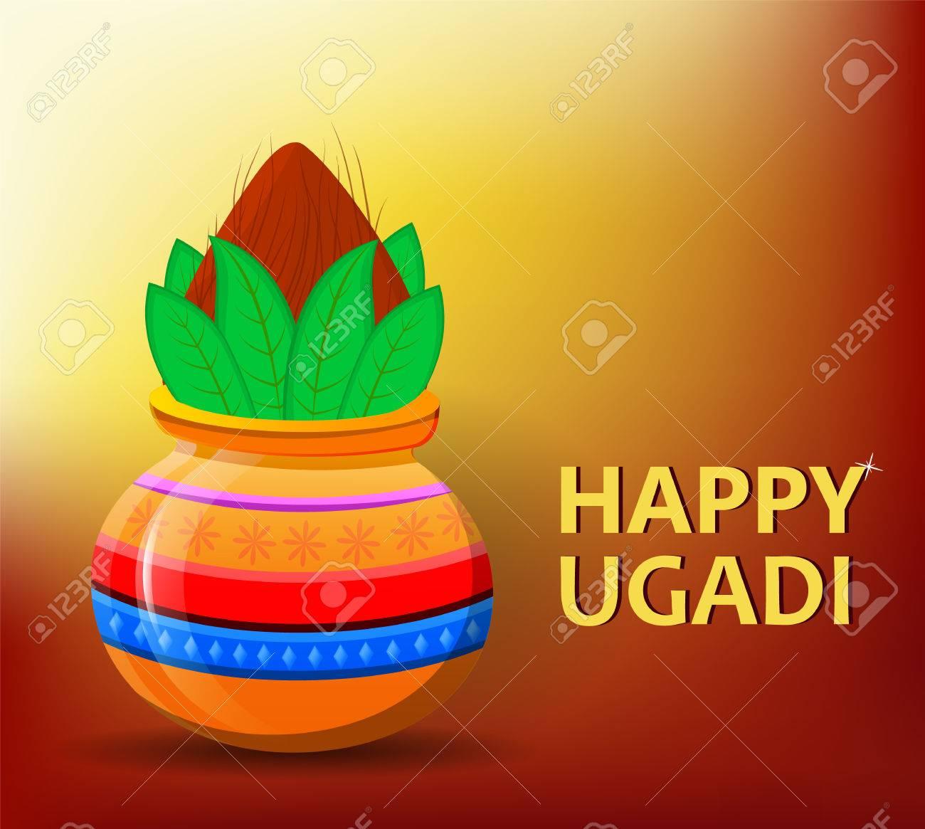 Happy ugadi and gudi padwa hindu new year greeting card for happy ugadi and gudi padwa hindu new year greeting card for holiday colored pot kristyandbryce Gallery
