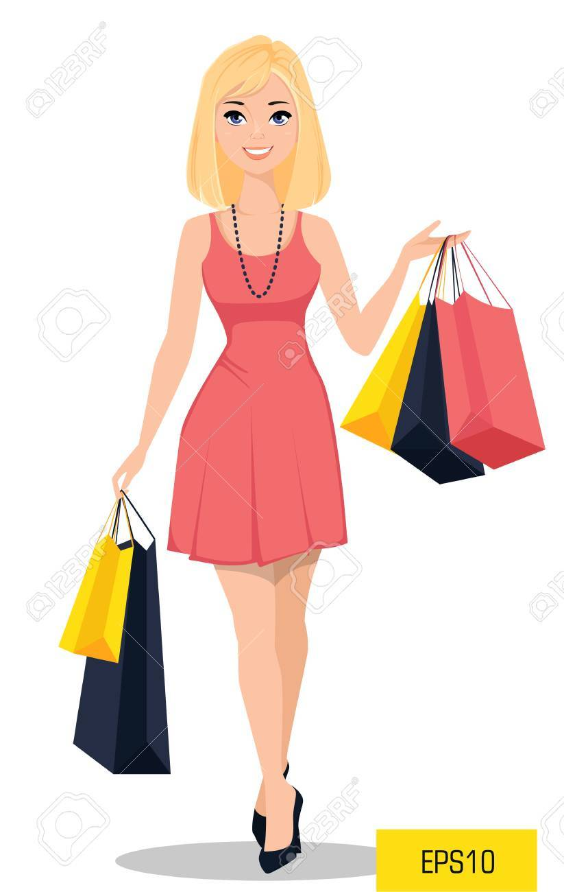 Beautiful Woman With Bags Attractive Cartoon Girl In Plan Your Shopping Spree Dress On A