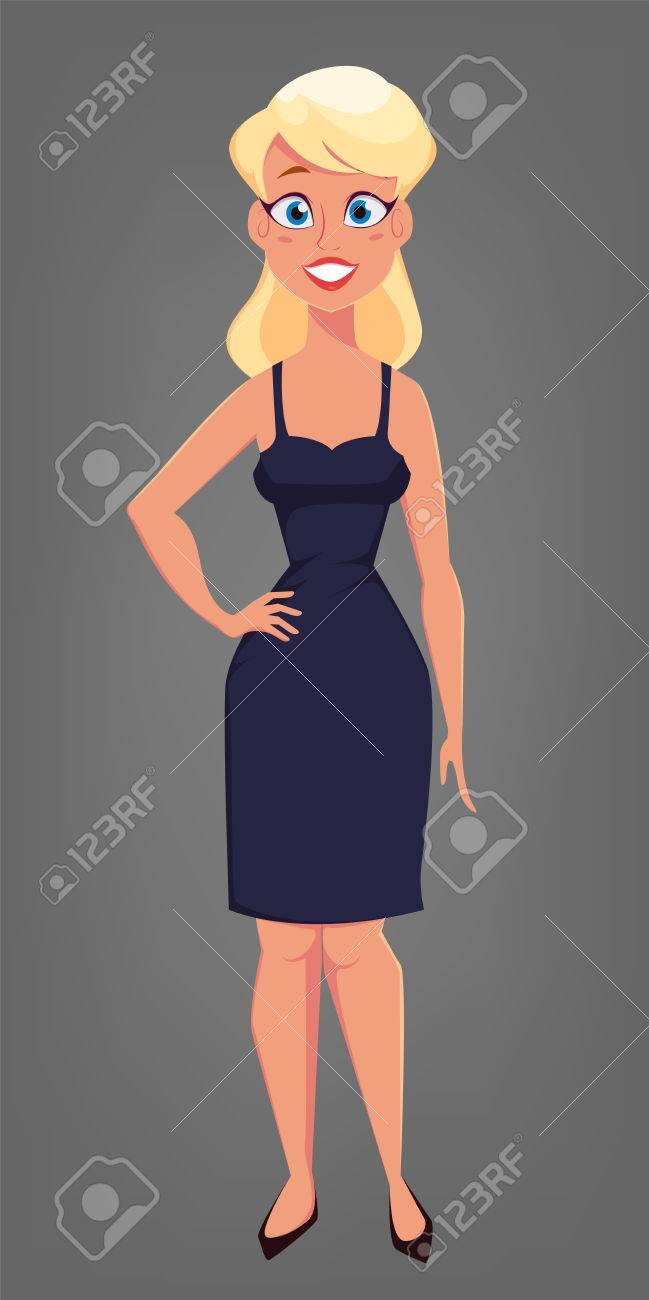 Beautiful Blonde Woman With Big Blue Eyes Cute Cartoon Character Royalty Free Cliparts Vectors And Stock Illustration Image 78092161