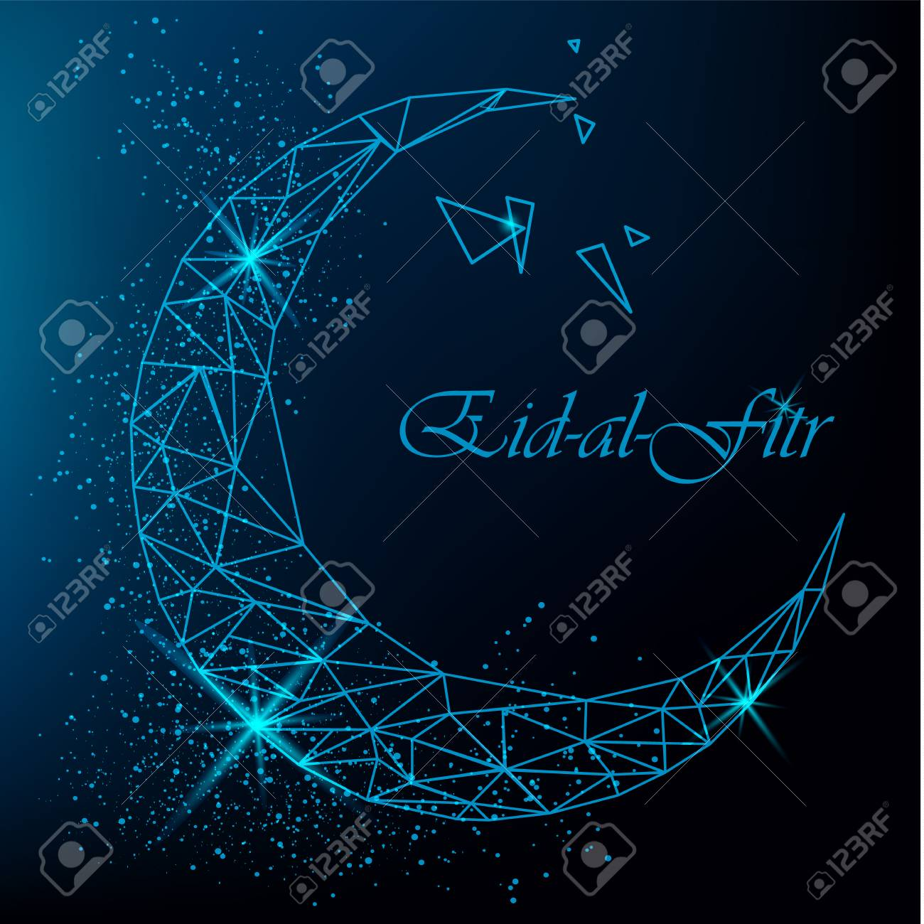 Best Different Eid Al-Fitr Greeting - 79996470-eid-al-fitr-beautiful-greeting-card-with-polygonal-moon-with-glitter-on-blue-background-stock-vector  You Should Have_193253 .jpg