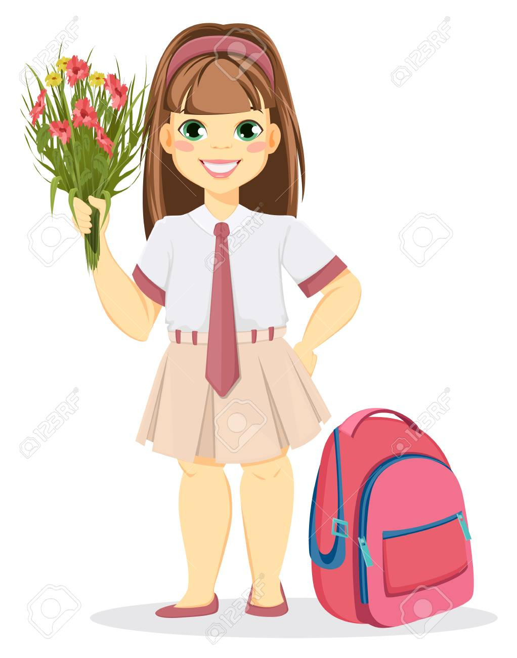 Cartoon character. Vector illustration. Schoolgirl with backpack and  bouquet of flowers. Coming back to school. Cute smiling girl e9880e86735b3
