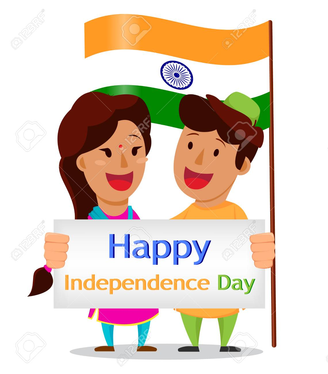 Independence day in india greeting card with funny cartoon greeting card with funny cartoon characters indian man and woman kristyandbryce Gallery