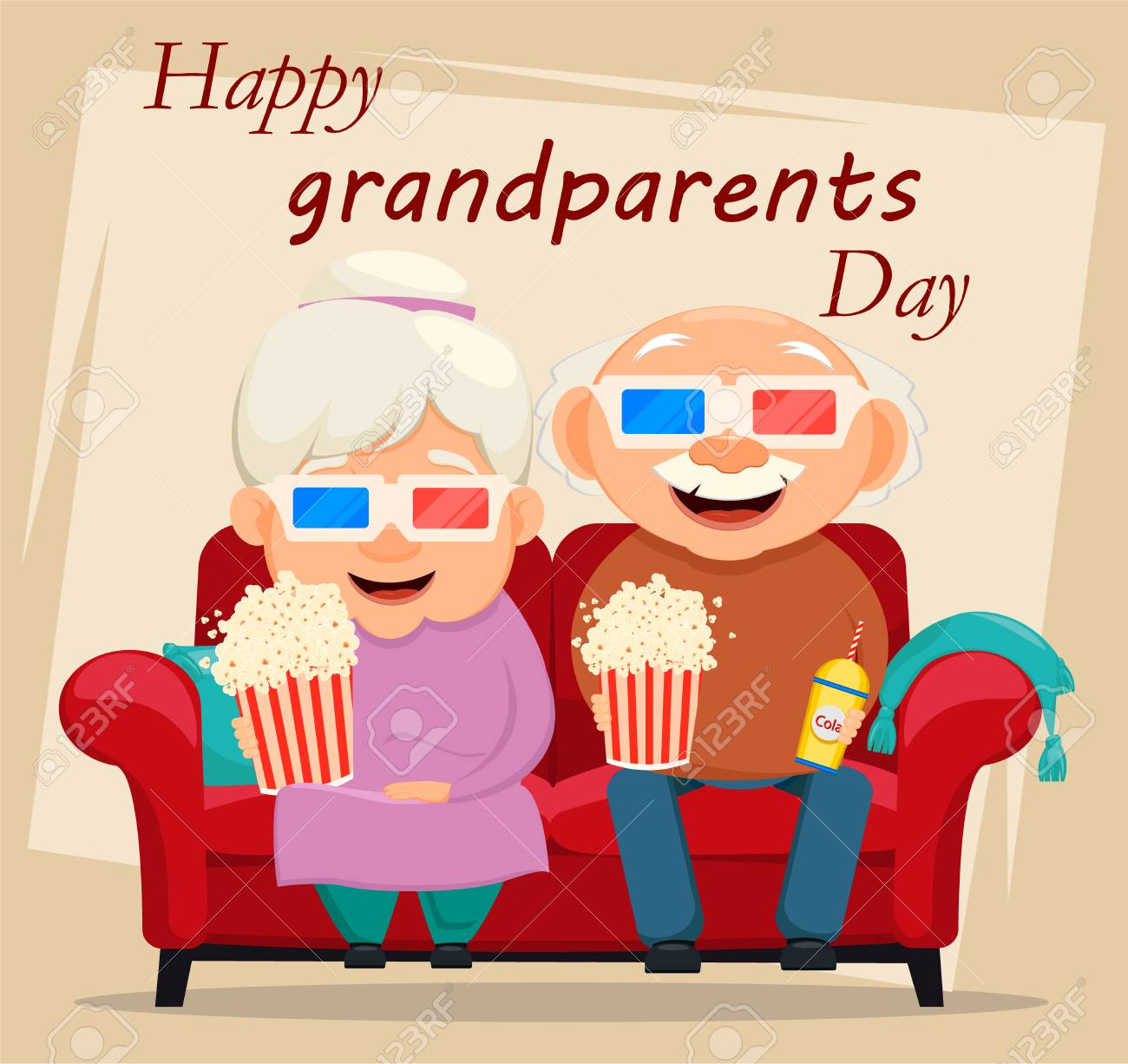 Grandparents day greeting card grandmother and grandfather watching grandparents day greeting card grandmother and grandfather watching movie at home illustration on light m4hsunfo