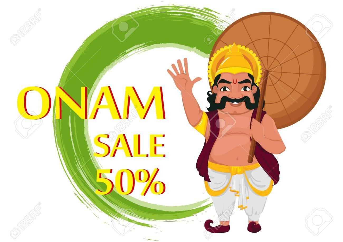 King Mahabali Happy Onam Festival In Kerala Illustration For