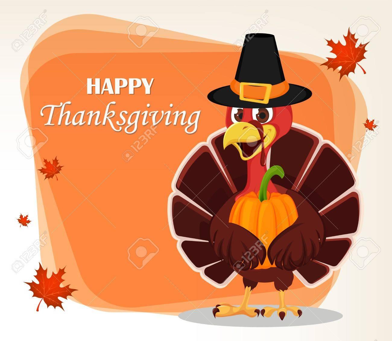 Thanksgiving Greeting Card With A Turkey Bird Wearing A Pilgrim
