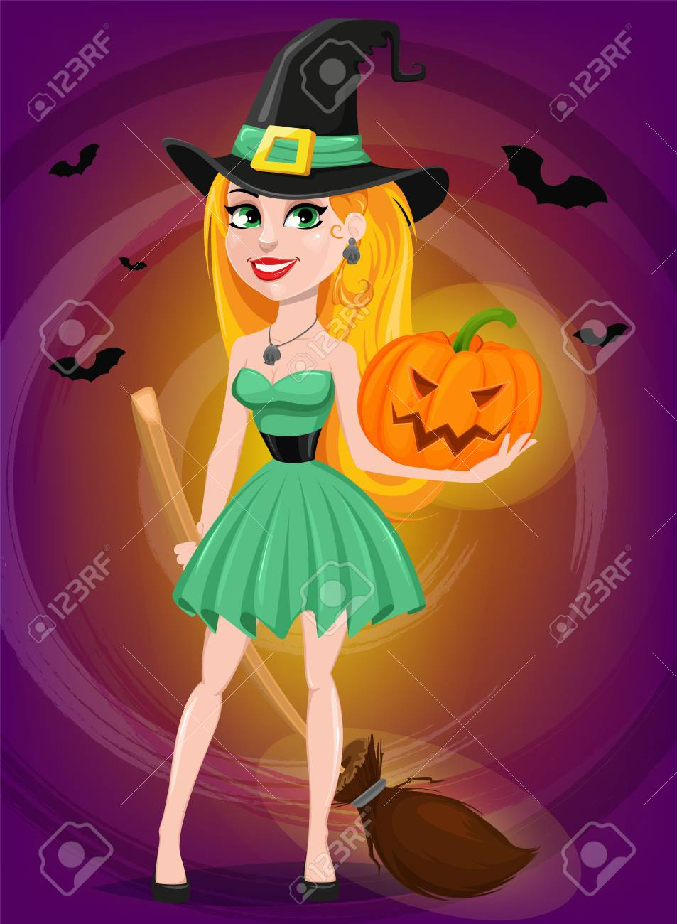 Beautiful lady witch wearing pilgrim hat and holding broom and pumpkin. 2ffdba60ec4