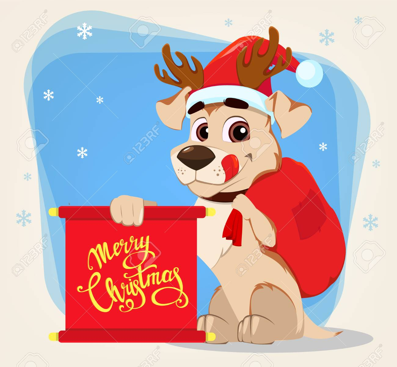 Merry Christmas Wishes Funny.Merry Christmas Greeting Card Funny Dog Wearing Santa Claus
