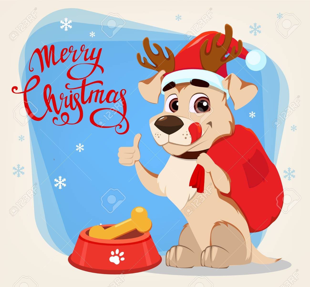 Merry christmas greeting card funny dog wearing santa claus merry christmas greeting card funny dog wearing santa claus hat and deer antlers sitting near m4hsunfo